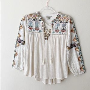 Lucky Brand Embroidered Bohemian Style Top Size S